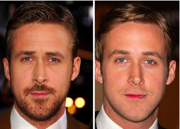 Ryan Gosling clean shave vs bearded