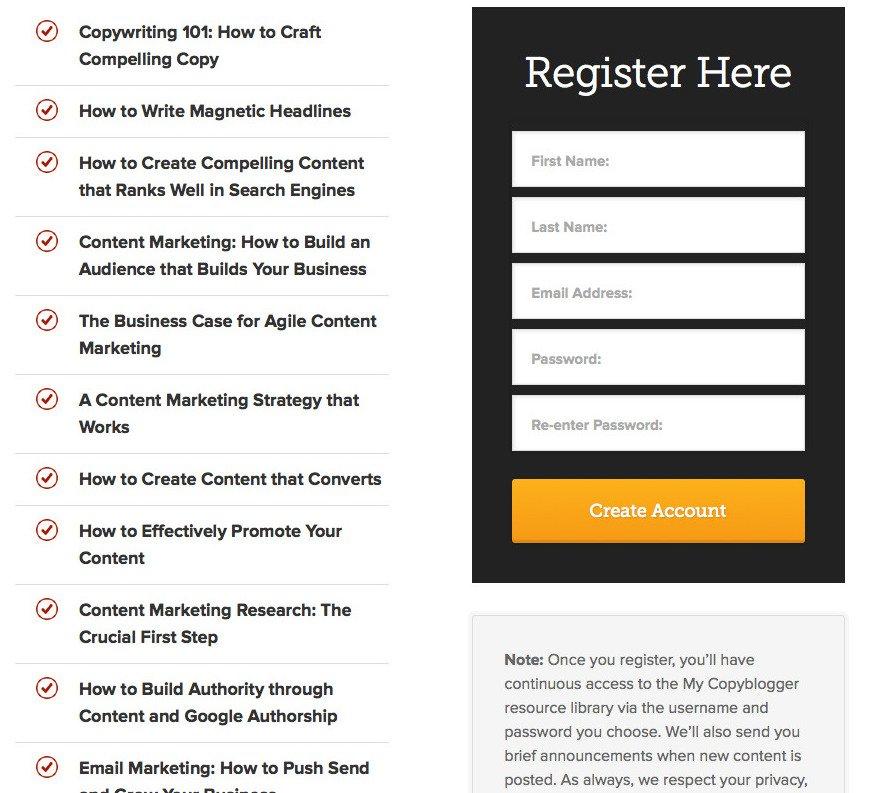 Copyblogger lead magnet form