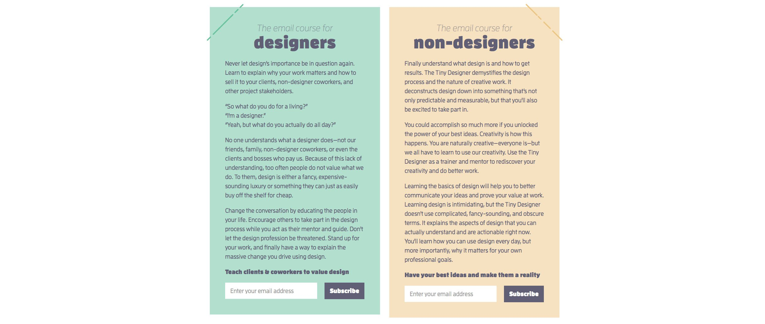 The Tiny Designer: email course registration page