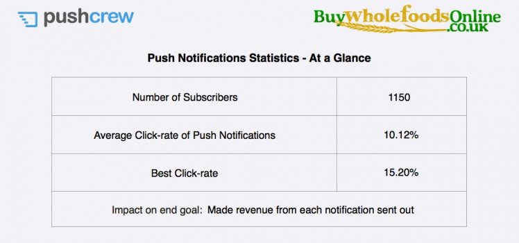 eCommerce push notifications case study results