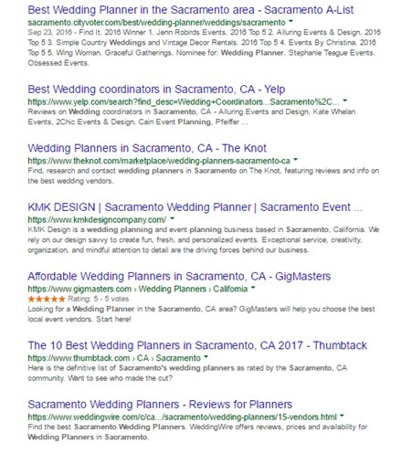 screenshot of the Google SERP results