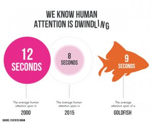 illustration showing how human attention is dwindling every year