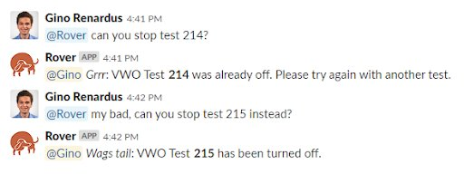 Rover Slack bot sharing the update for the A/B test