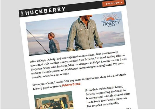 an example of branding and marketing through emails from Huckberry