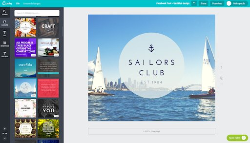 Canva is an online tool for creating visual designs