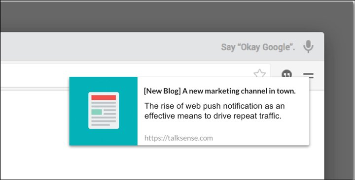an example of push notifications for new blog updates