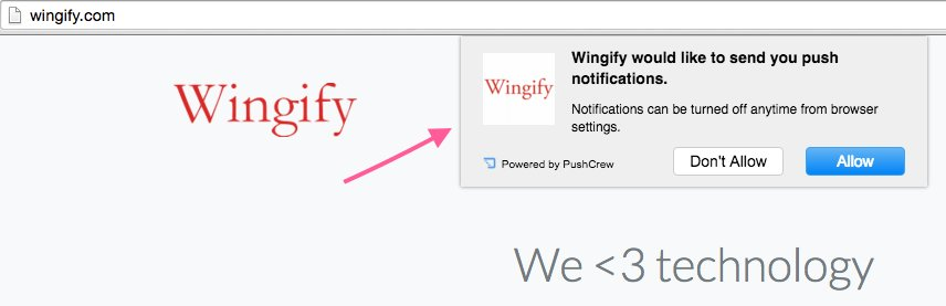 screenshot of the push notification on Wingify.com