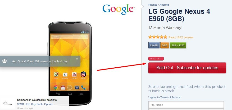 Example of Sold Out Product Of Google Nexus 4E960