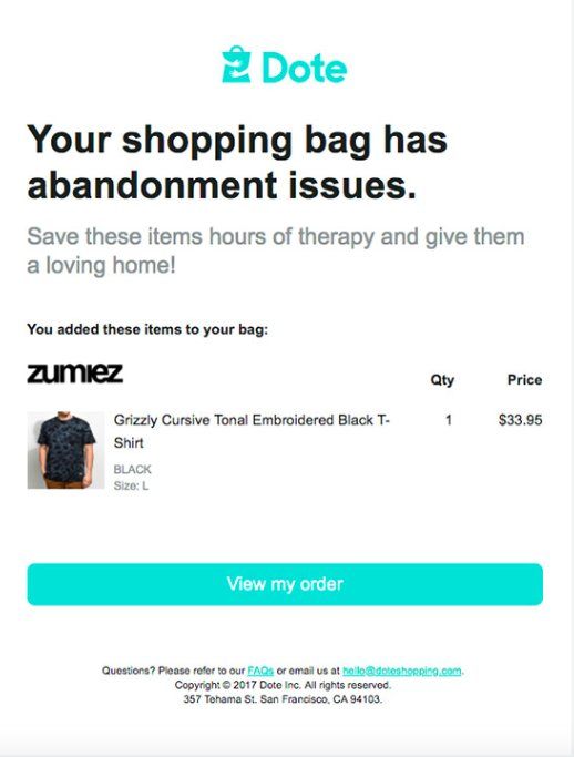 shipping cart issues on  doteshopping store