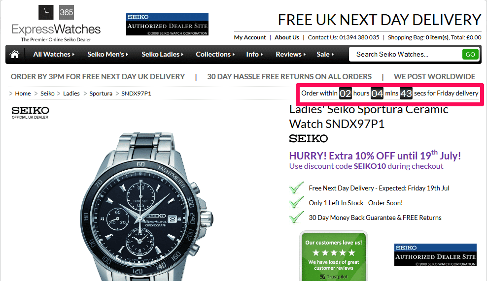 Scarcity and urgency tactic on ExpressWatches ecommerce store