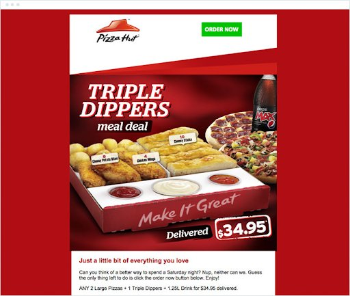 an example of emailer from pizza hut