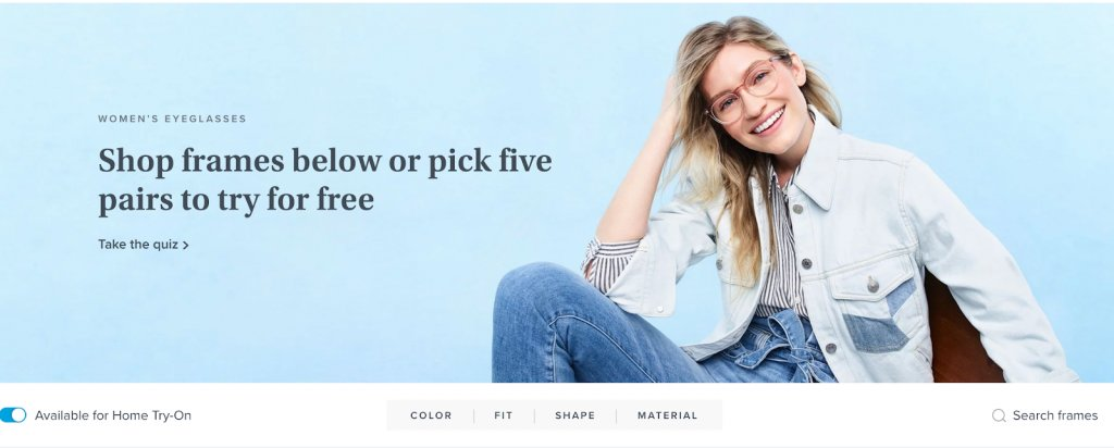 offer banner for products on warbyparker.com