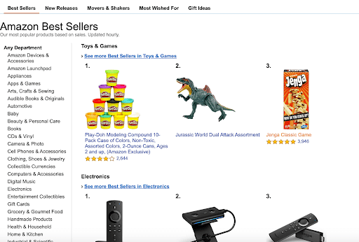 bestselling items listed on Amazon.com