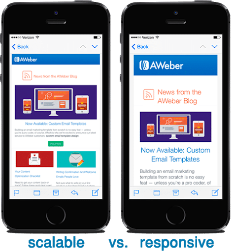 difference between scalable and responsive emailer designs for mobile