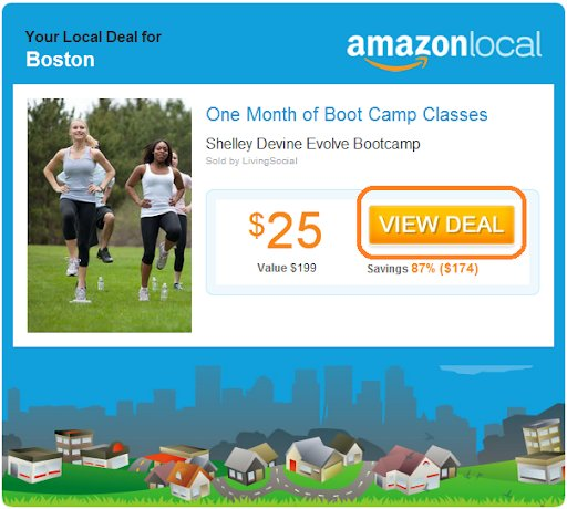 example of CTA of VIEW DEAL on Amazon local