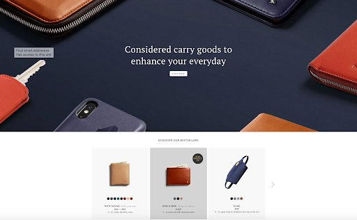 homepage for bellroy.com
