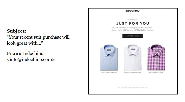 post-purchase email sent from Indochino.com
