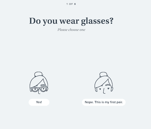 online quiz for buying eyeglasses on Warbyparker.com