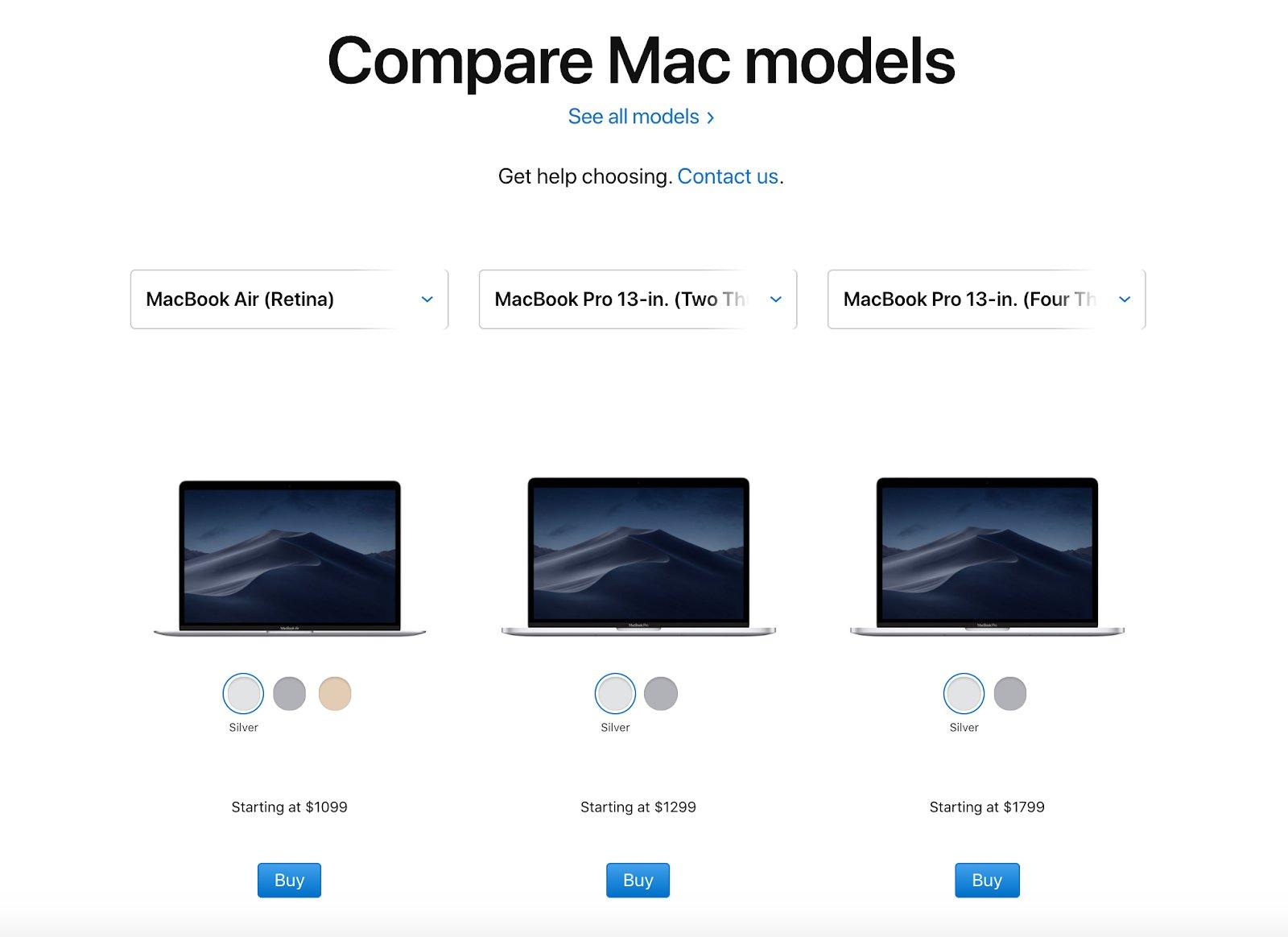 product comparison of Apple mac models