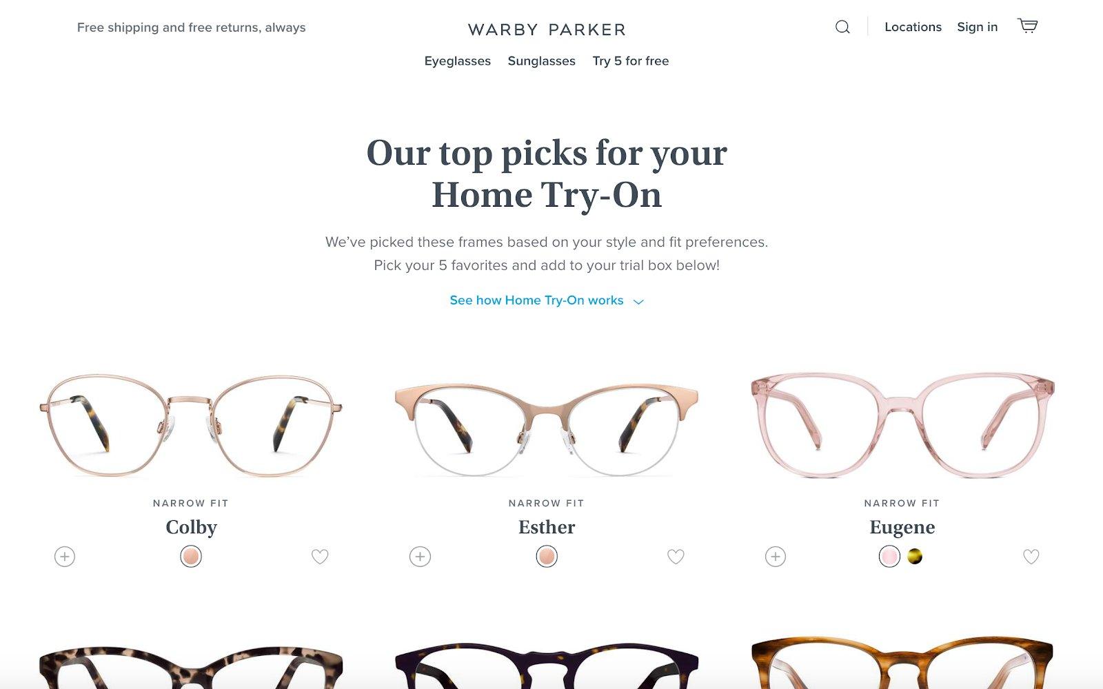 a curated selection of products on warbyparker.com