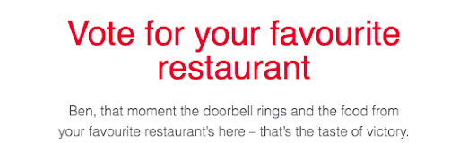 screenshot of a snippet from an email from Just Eat