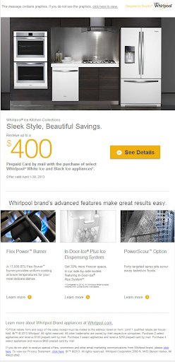 email marketing campaign from Whirlpool.com with one primary CTA & secondary CTAs