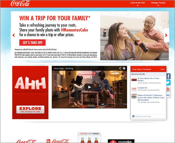 red and white scheme of Coca-Cola's brand image