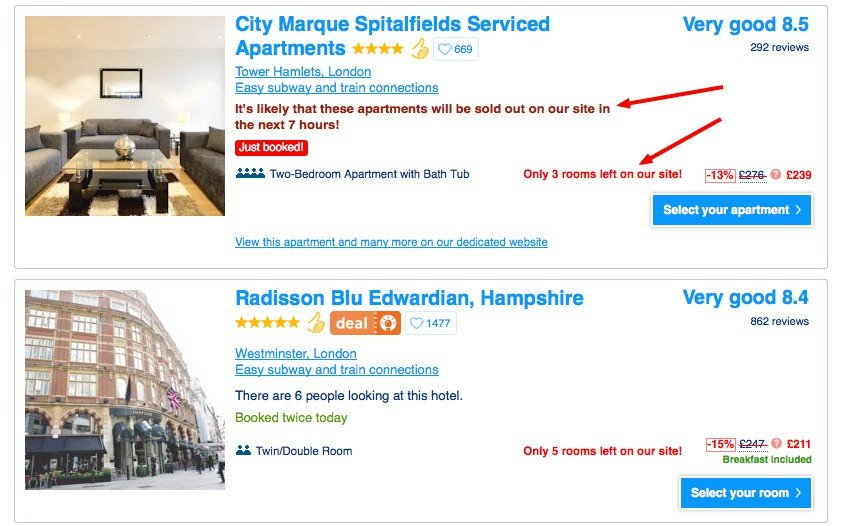 how scarcity plays a role in increasing the number of bookings on Booking.com