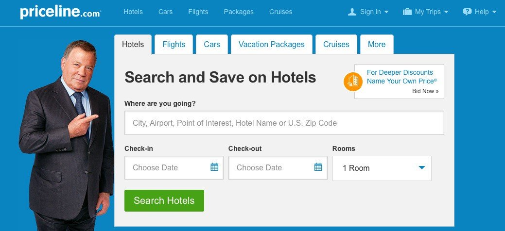 how priceline.com has optimized their site search for visitors