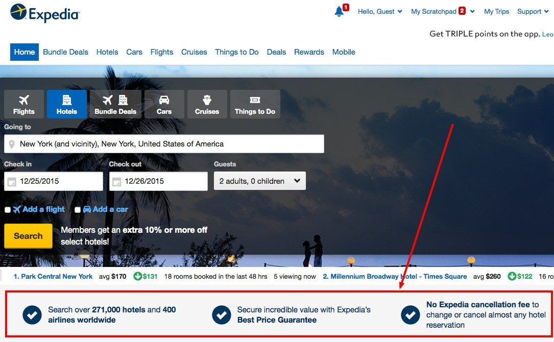 how expedia highlights its USPs on their website to increase bookings
