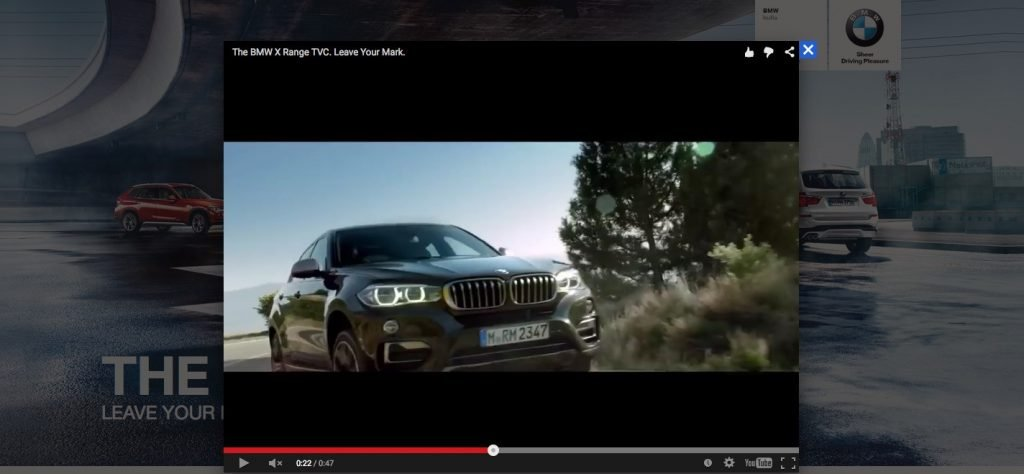 screenshot of the microsite for BMW