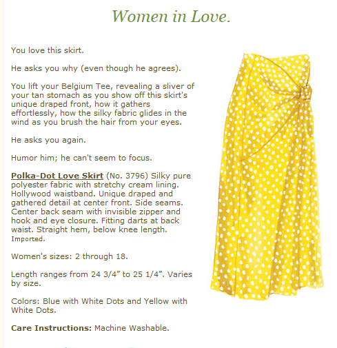 screenshot from the Women in Love online brand