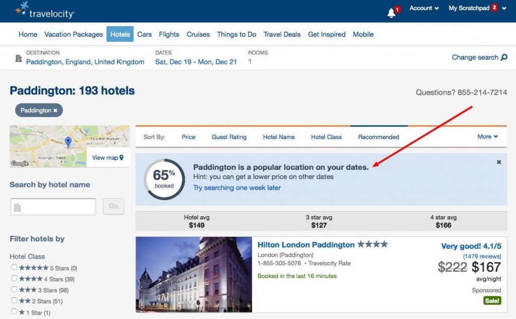 optimal user experience on the website of travelocity