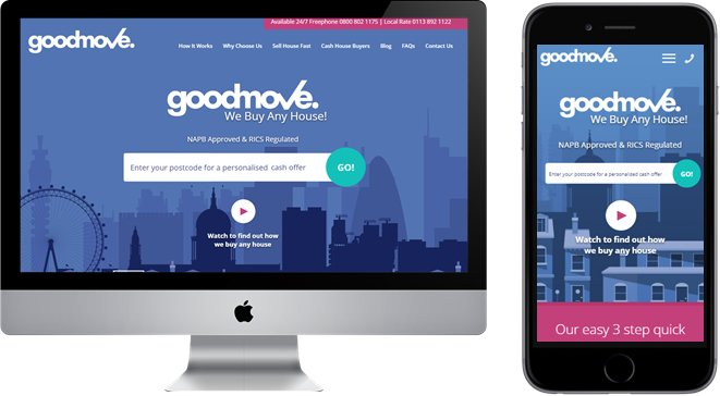 screenshot of the variation version of the home page of good move