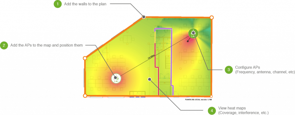 a screenshot from Acrylic's Wifi heatmap of a house
