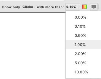 screenshot of the various percentage options available within Page Analytics Chrome Extension