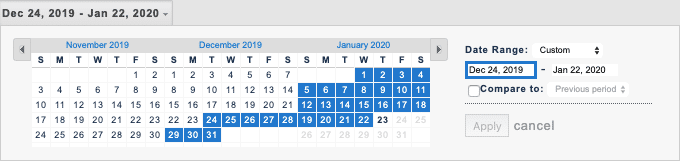 screenshot of the date range selected within Google Analytics
