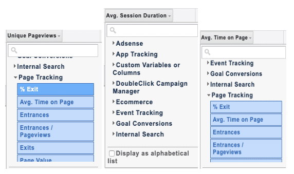 screenshot of the different configurations of metrics and dimensions within Google Analytics