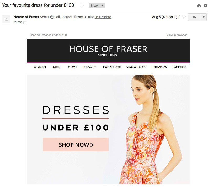 an example of an email from House of Fraser containing Visuals