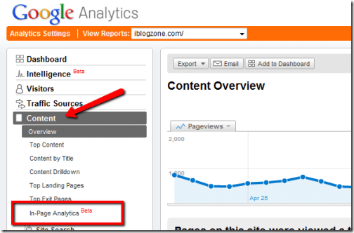 screenshot of the In-Page Analytics within Google Analytics