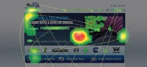 heatmap of the landing page for Truckers Assist website