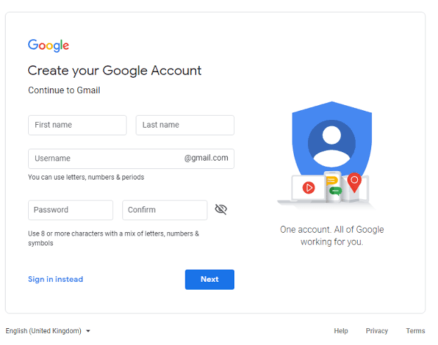 example of the sign-up form for a Google Account