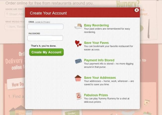 example of the sign-up form on the website of Grubhub
