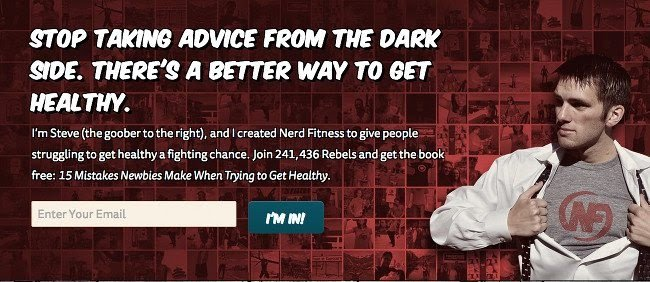 example of the sign-up form on the website of Nerd Fitness