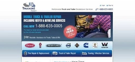 screenshot of the landing page for Truckers Asset website