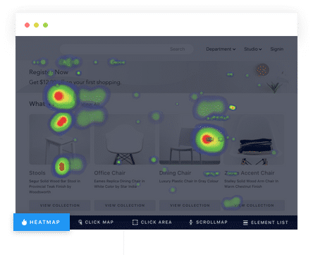 screenshot of the heatmap generated on a website by VWO Insights