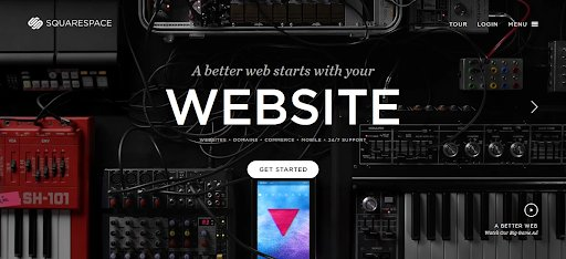 screenshot of the website of square space