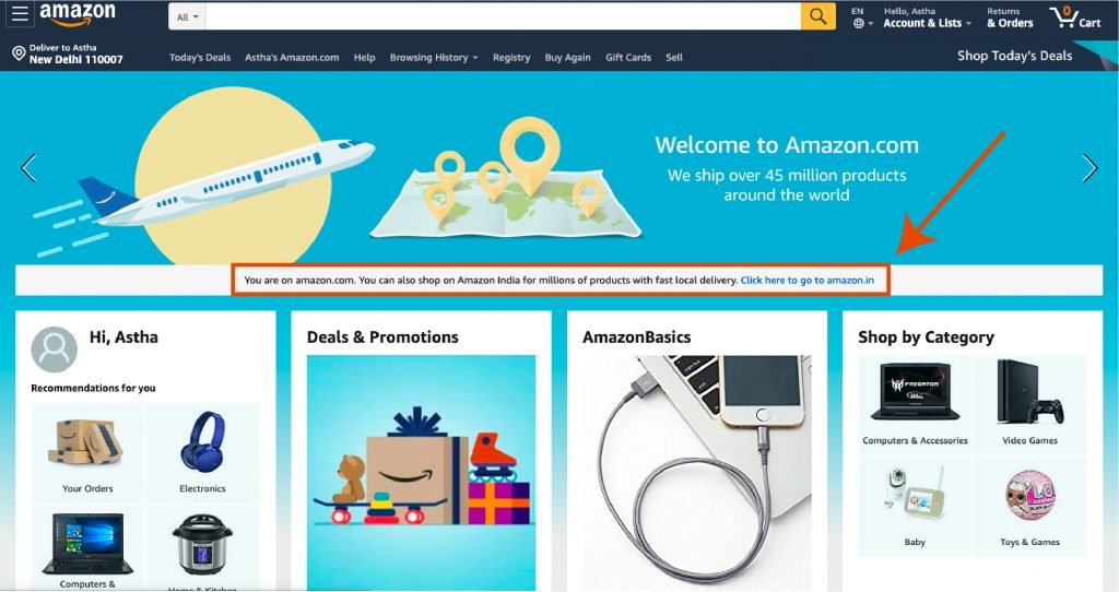 screenshot of the Amazon.com's home page requesting visitor to visit their country level Amazon website