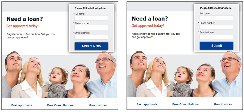 an example of landing page where visitors fill up form to request for loans