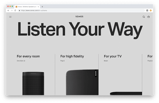 a screenshot of the website for Sonos where they opted for an ultra-minimal design.